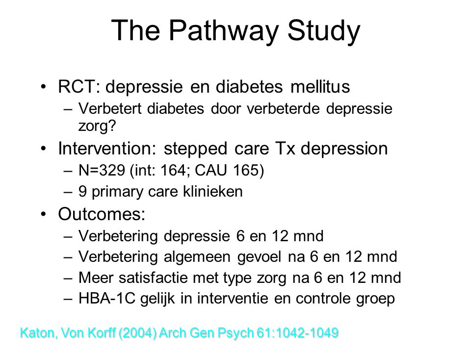 The Pathway Study RCT: depressie en diabetes mellitus