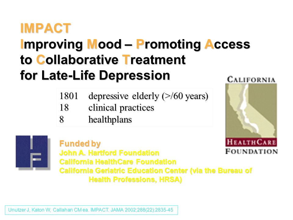 IMPACT Improving Mood – Promoting Access to Collaborative Treatment for Late-Life Depression