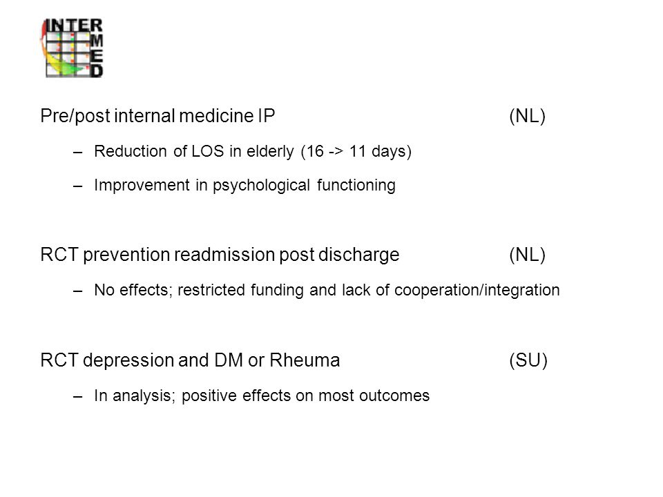 Intervention studies Pre/post internal medicine IP (NL)