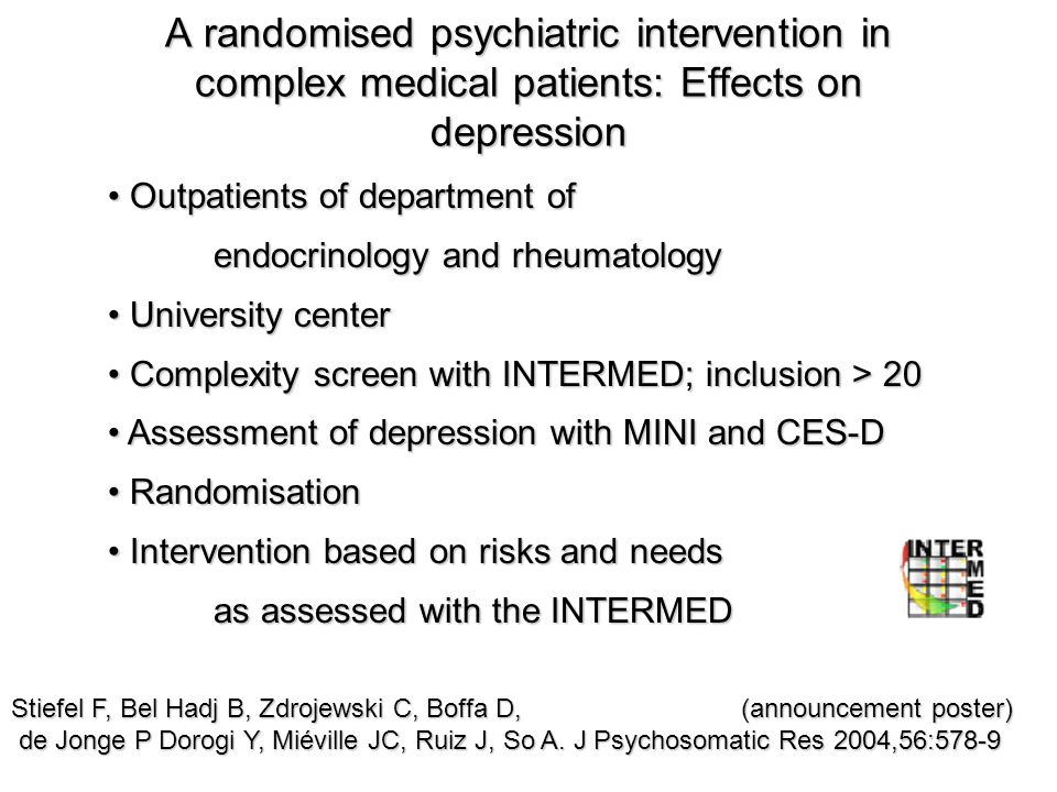 A randomised psychiatric intervention in complex medical patients: Effects on depression