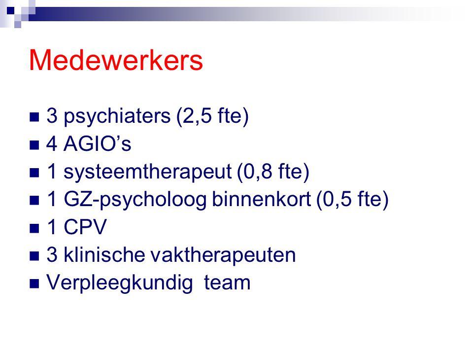 Medewerkers 3 psychiaters (2,5 fte) 4 AGIO's