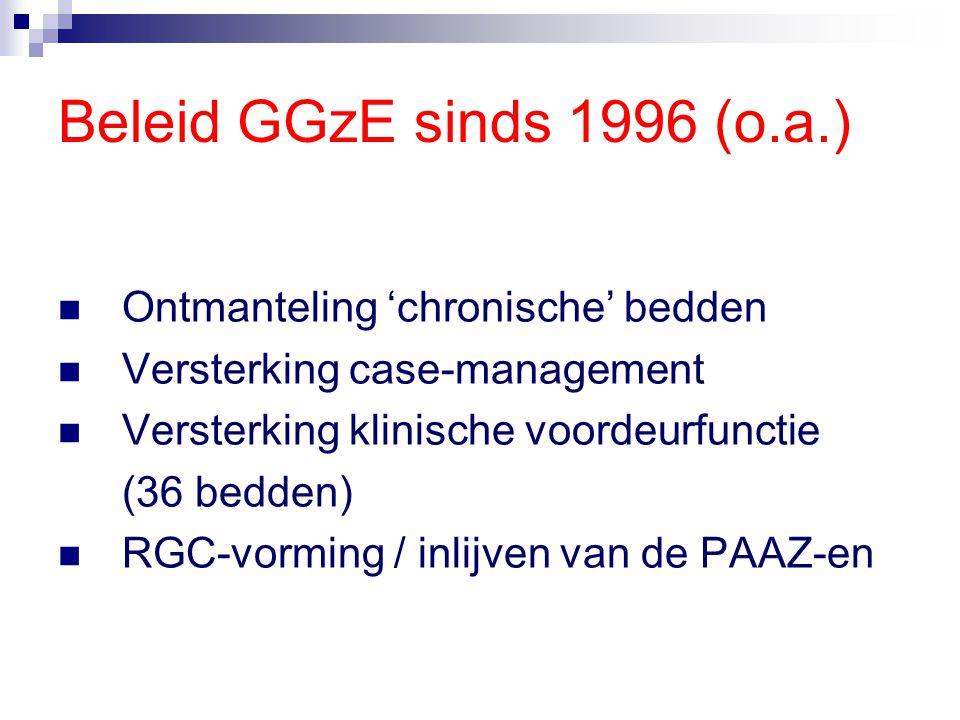 Beleid GGzE sinds 1996 (o.a.) Ontmanteling 'chronische' bedden