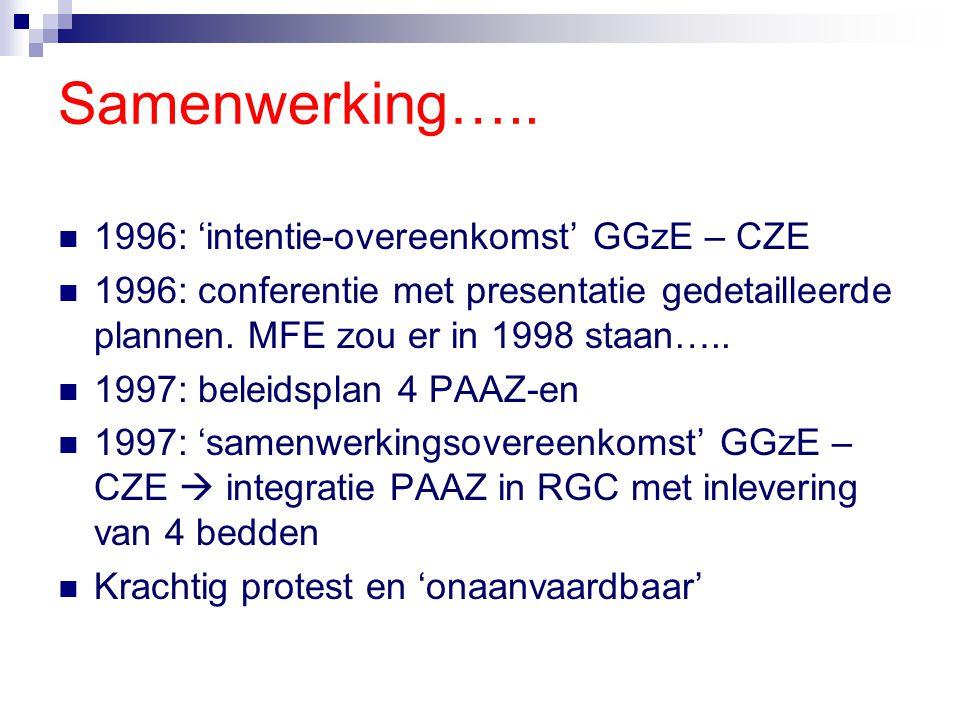 Samenwerking….. 1996: 'intentie-overeenkomst' GGzE – CZE