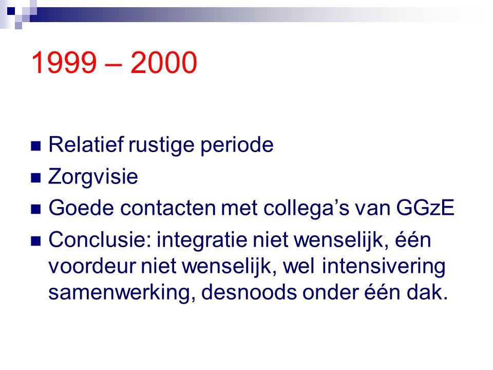 1999 – 2000 Relatief rustige periode Zorgvisie