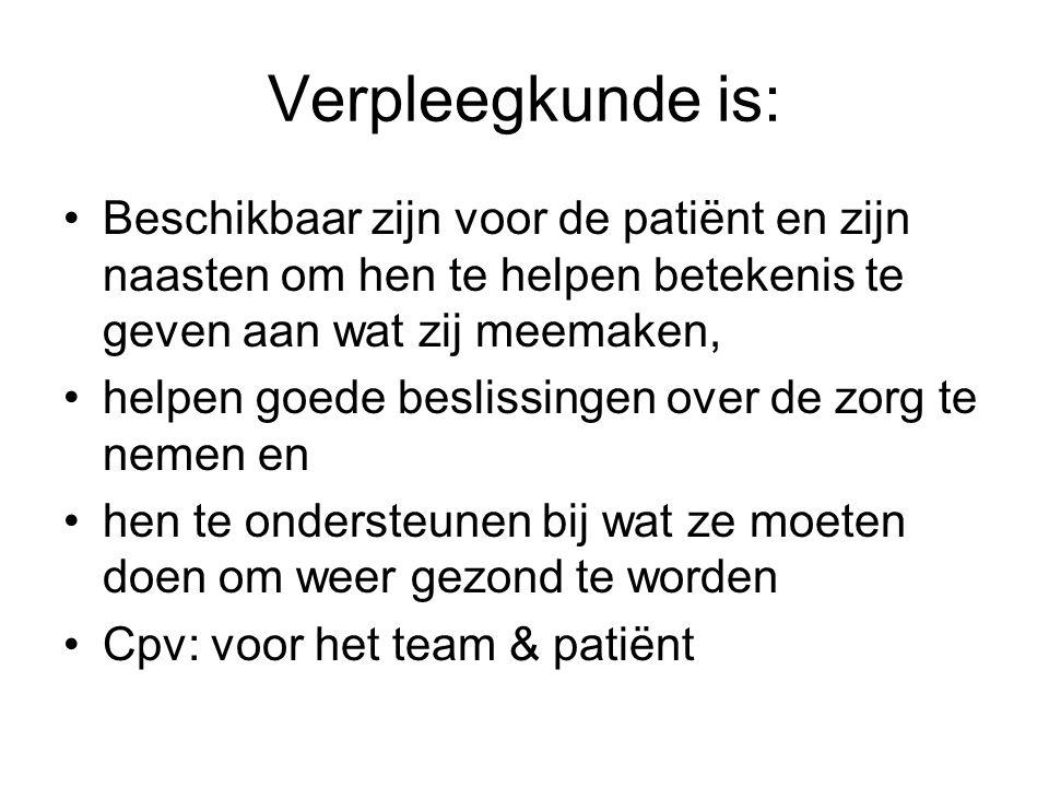 Verpleegkunde is: Beschikbaar zijn voor de patiënt en zijn naasten om hen te helpen betekenis te geven aan wat zij meemaken,