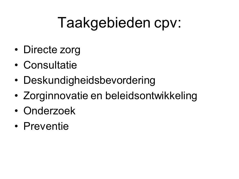 Taakgebieden cpv: Directe zorg Consultatie Deskundigheidsbevordering