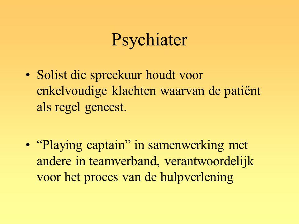 Psychiater Solist die spreekuur houdt voor enkelvoudige klachten waarvan de patiënt als regel geneest.