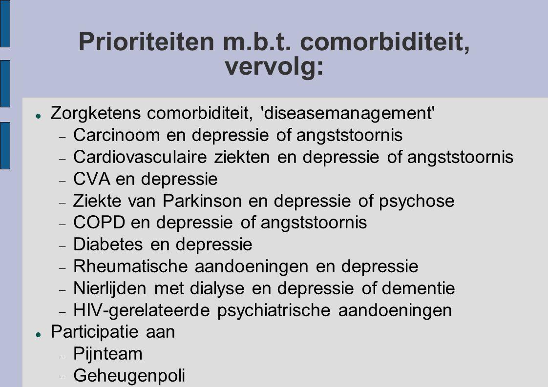 Prioriteiten m.b.t. comorbiditeit, vervolg:
