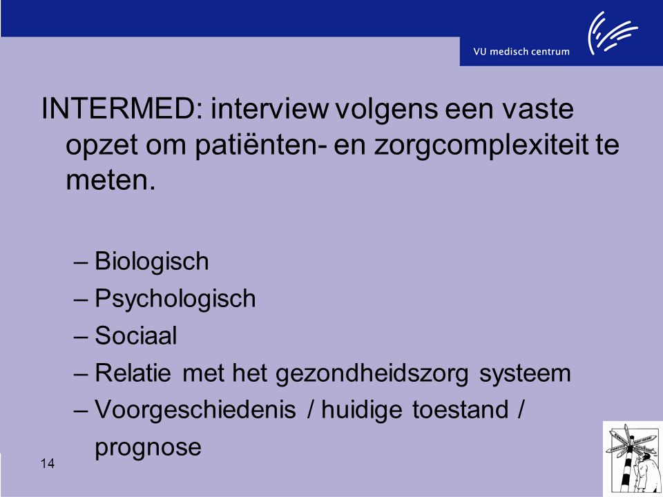INTERMED: interview volgens een vaste opzet om patiënten- en zorgcomplexiteit te meten.