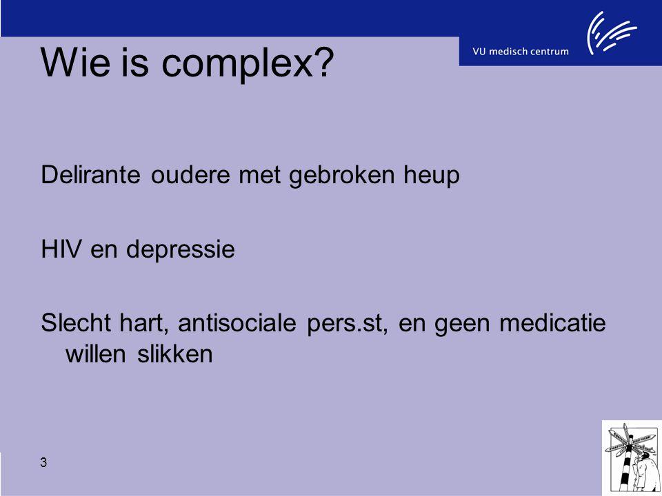 Wie is complex Delirante oudere met gebroken heup HIV en depressie