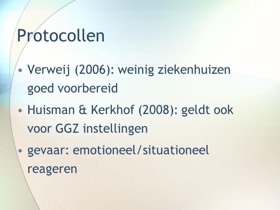 Protocollen Verweij (2006): weinig ziekenhuizen goed voorbereid