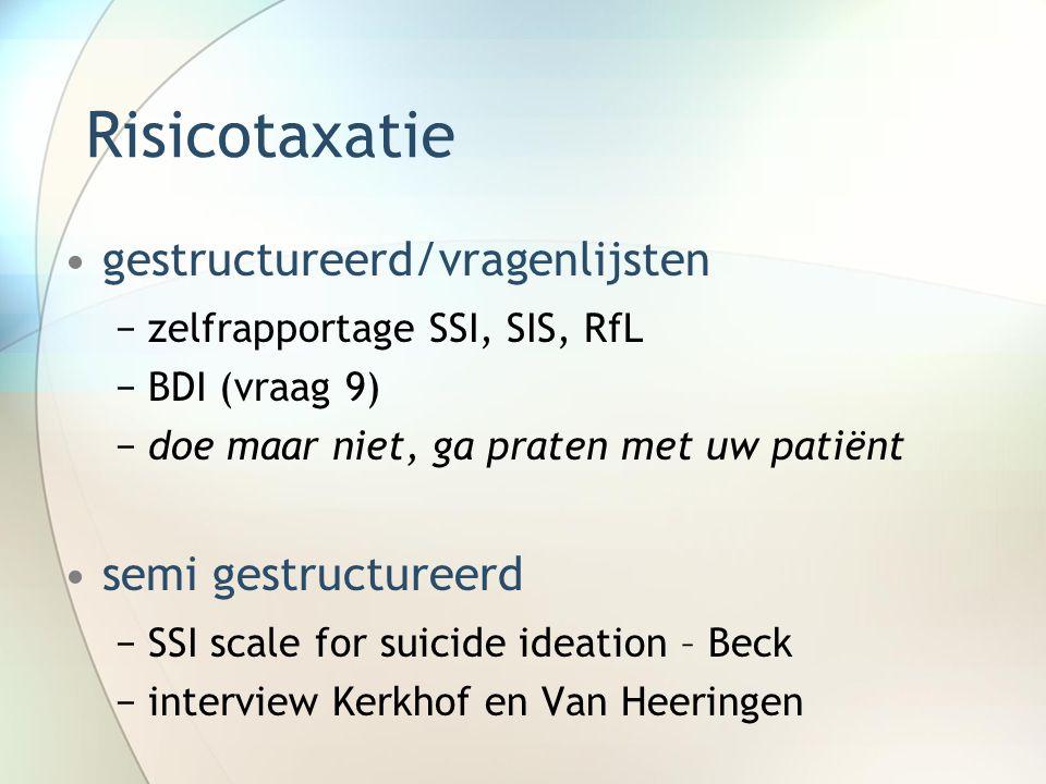 Risicotaxatie gestructureerd/vragenlijsten semi gestructureerd