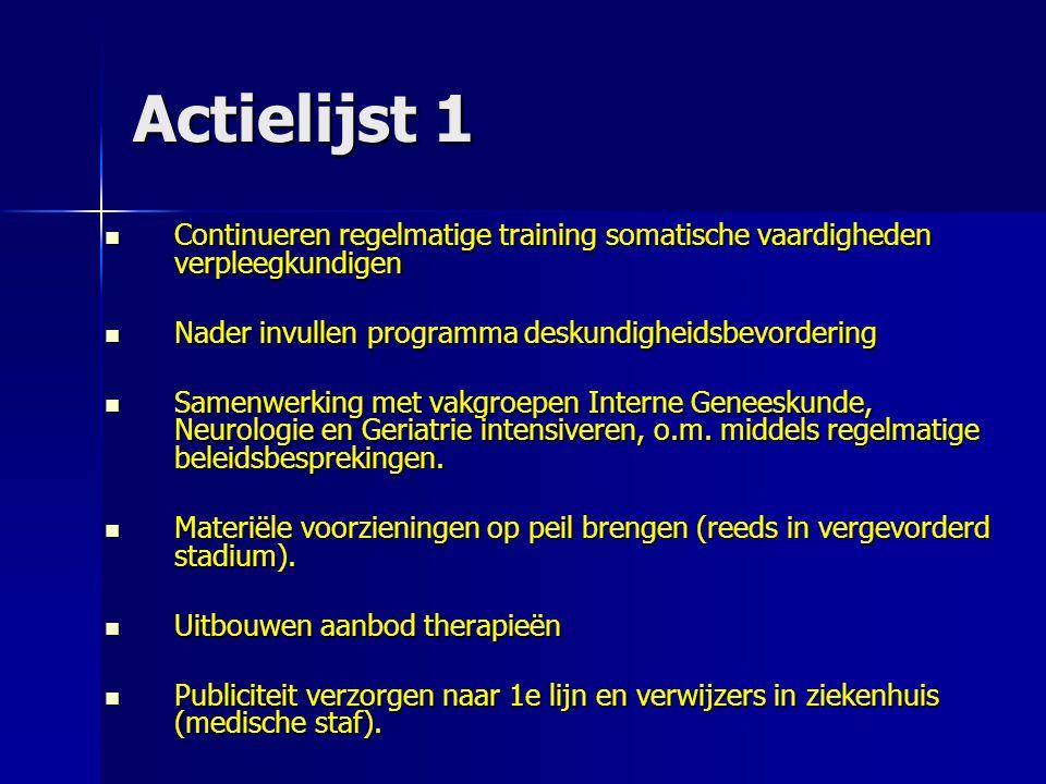 Actielijst 1 Continueren regelmatige training somatische vaardigheden verpleegkundigen. Nader invullen programma deskundigheidsbevordering.