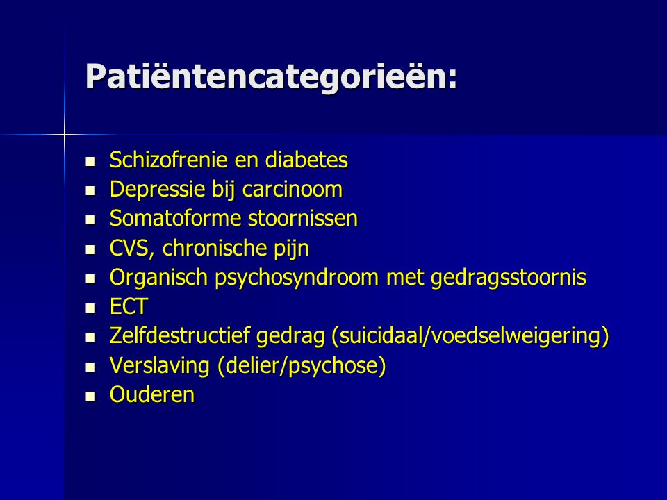 Patiëntencategorieën: