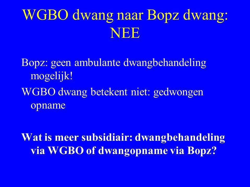 WGBO dwang naar Bopz dwang: NEE