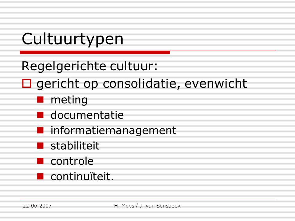 Cultuurtypen Regelgerichte cultuur: gericht op consolidatie, evenwicht