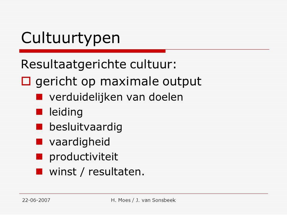 Cultuurtypen Resultaatgerichte cultuur: gericht op maximale output