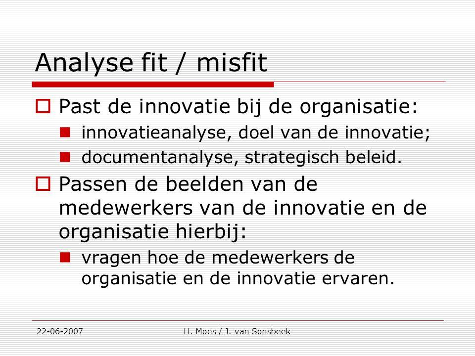 Analyse fit / misfit Past de innovatie bij de organisatie: