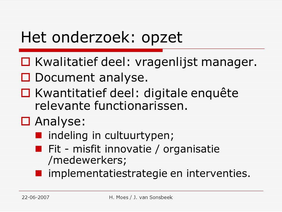 Het onderzoek: opzet Kwalitatief deel: vragenlijst manager.