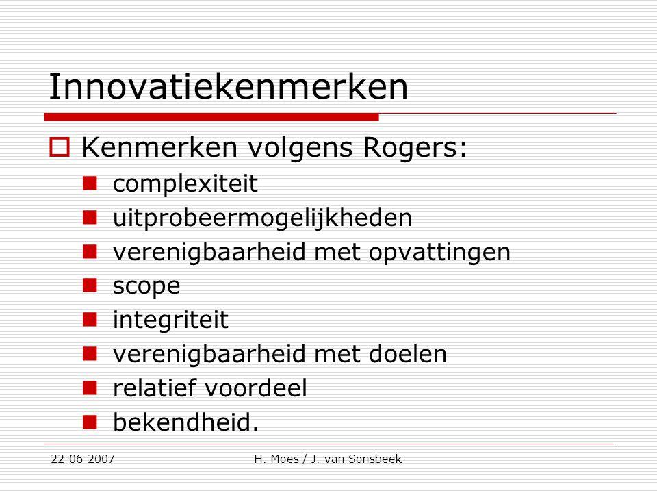 Innovatiekenmerken Kenmerken volgens Rogers: complexiteit