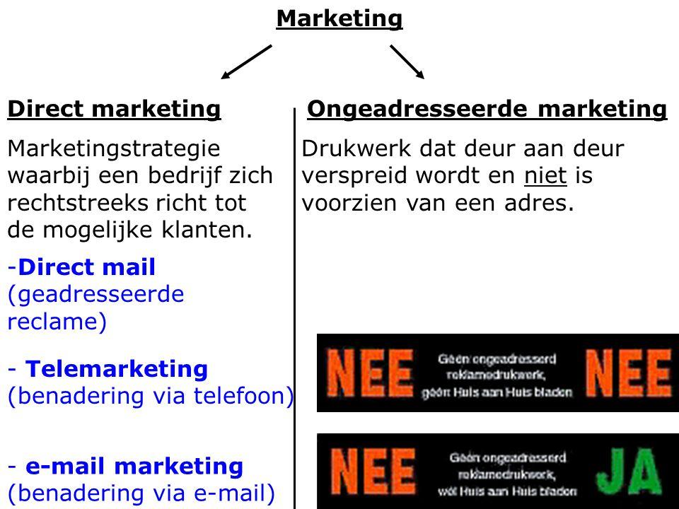 Marketing Direct marketing. Ongeadresseerde marketing. Marketingstrategie waarbij een bedrijf zich rechtstreeks richt tot de mogelijke klanten.