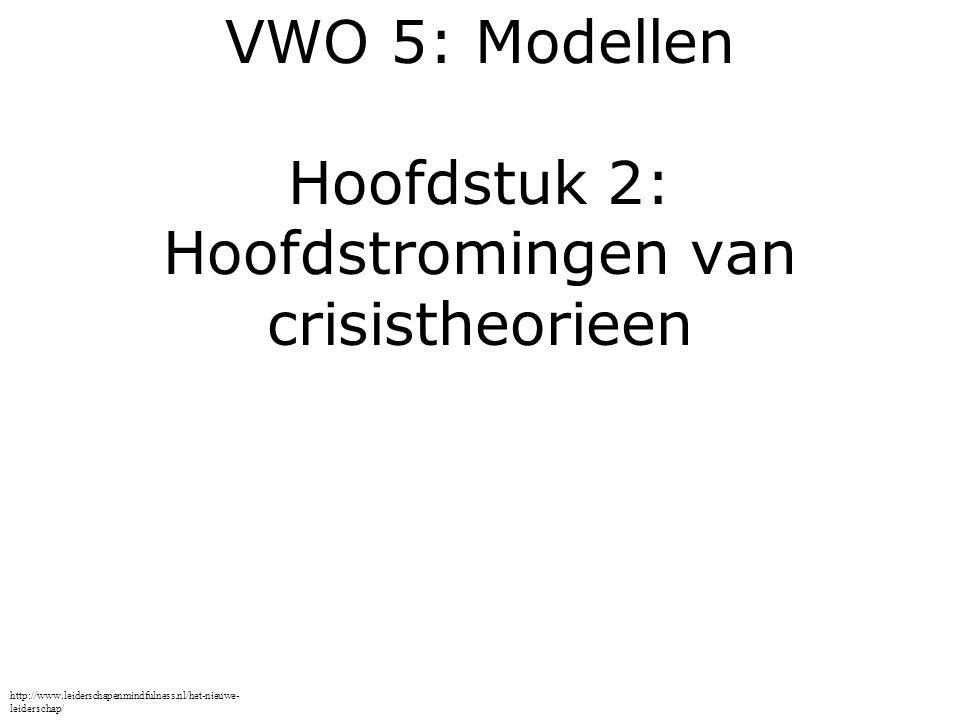 VWO 5: Modellen Hoofdstuk 2: Hoofdstromingen van crisistheorieen