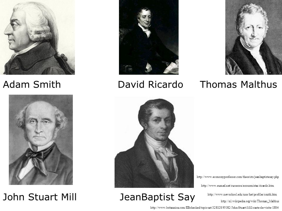 Adam Smith David Ricardo Thomas Malthus John Stuart Mill JeanBaptist Say