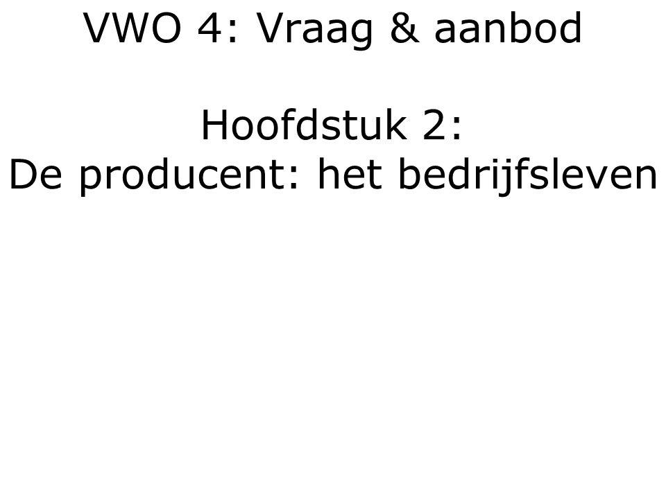 VWO 4: Vraag & aanbod Hoofdstuk 2: De producent: het bedrijfsleven