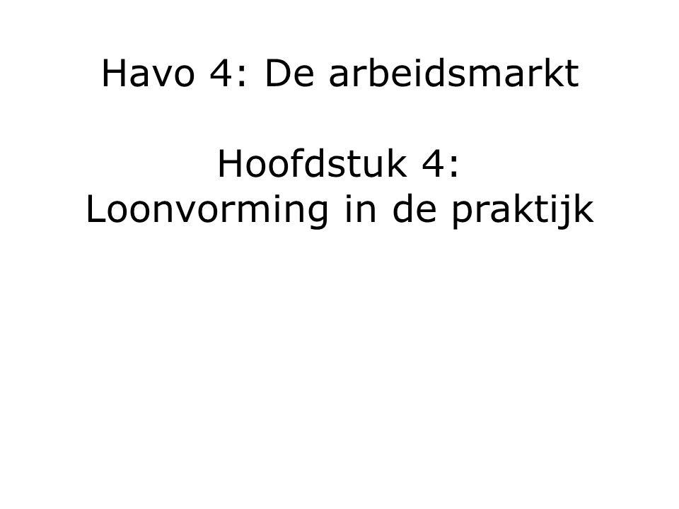 Havo 4: De arbeidsmarkt Hoofdstuk 4: Loonvorming in de praktijk