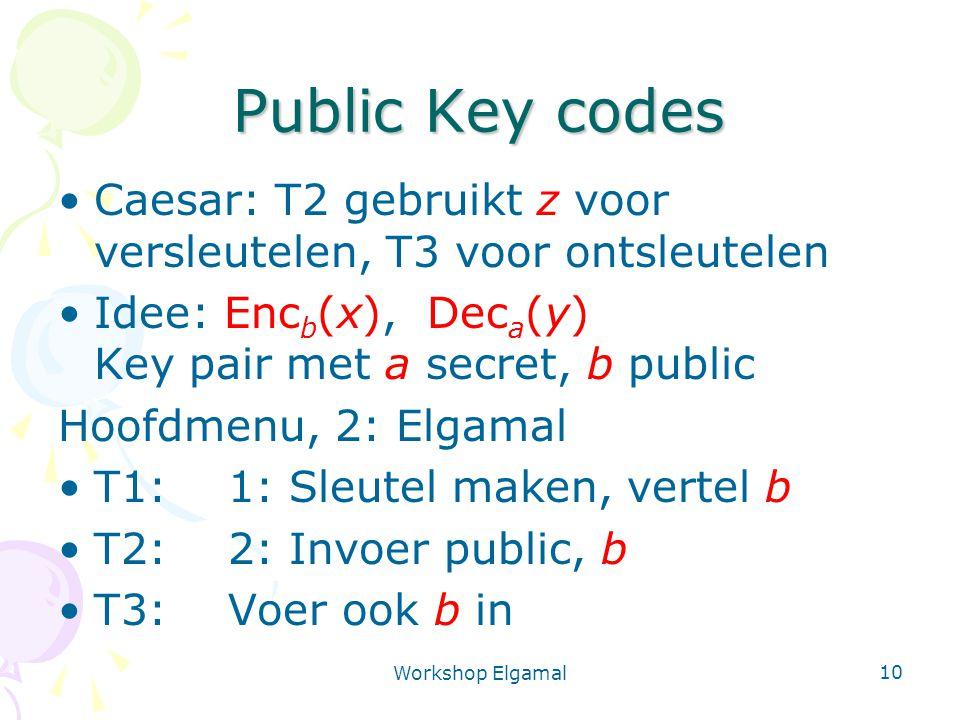 Public Key codes Caesar: T2 gebruikt z voor versleutelen, T3 voor ontsleutelen. Idee: Encb(x), Deca(y) Key pair met a secret, b public.