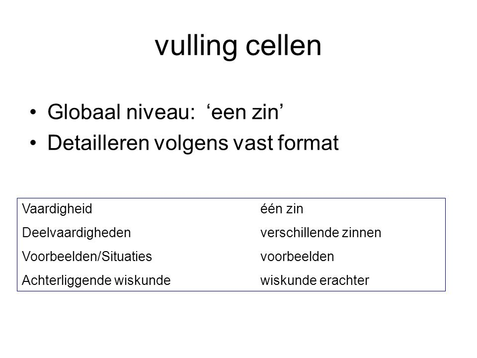 vulling cellen Globaal niveau: 'een zin'