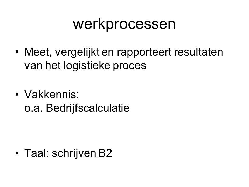 werkprocessen Meet, vergelijkt en rapporteert resultaten van het logistieke proces. Vakkennis: o.a. Bedrijfscalculatie.