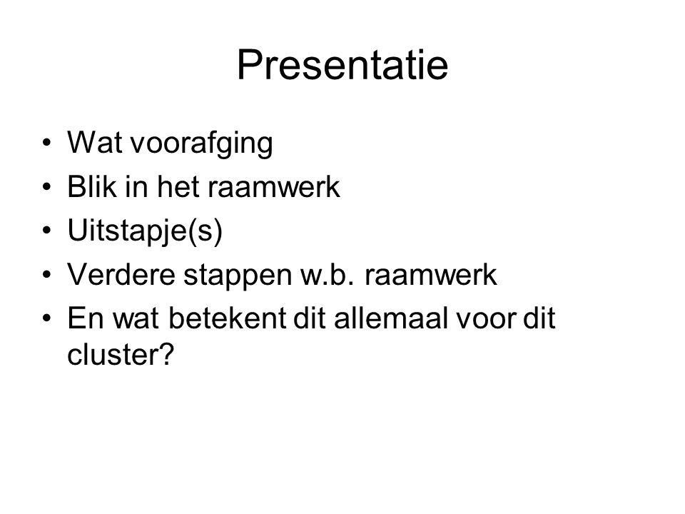 Presentatie Wat voorafging Blik in het raamwerk Uitstapje(s)