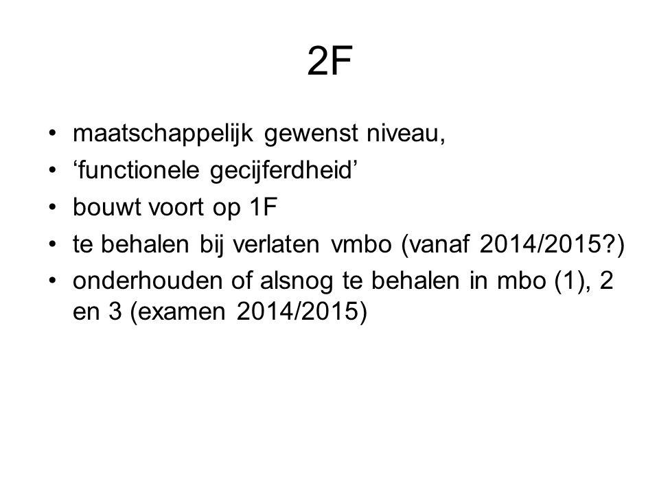 2F maatschappelijk gewenst niveau, 'functionele gecijferdheid'