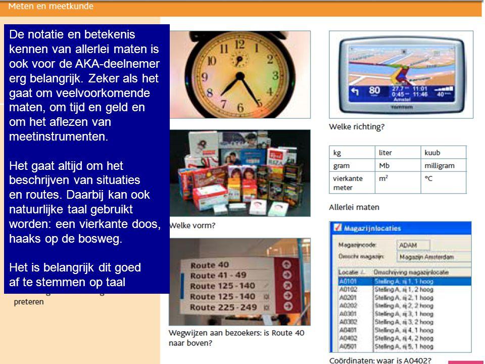 De notatie en betekenis kennen van allerlei maten is ook voor de AKA-deelnemer erg belangrijk. Zeker als het gaat om veelvoorkomende