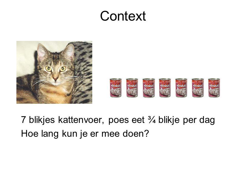Context 7 blikjes kattenvoer, poes eet ¾ blikje per dag