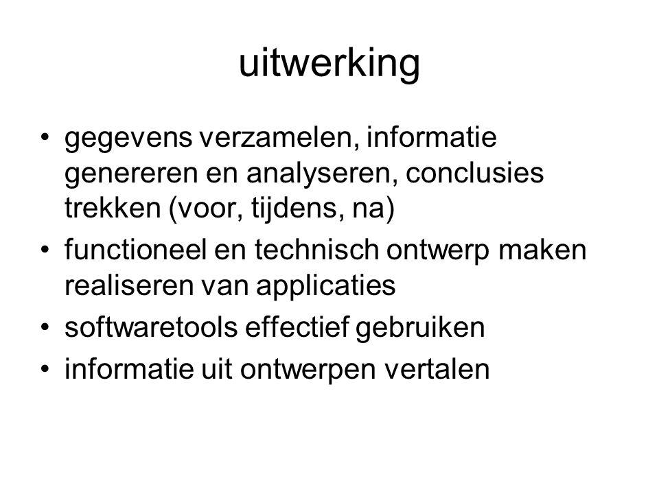 uitwerking gegevens verzamelen, informatie genereren en analyseren, conclusies trekken (voor, tijdens, na)