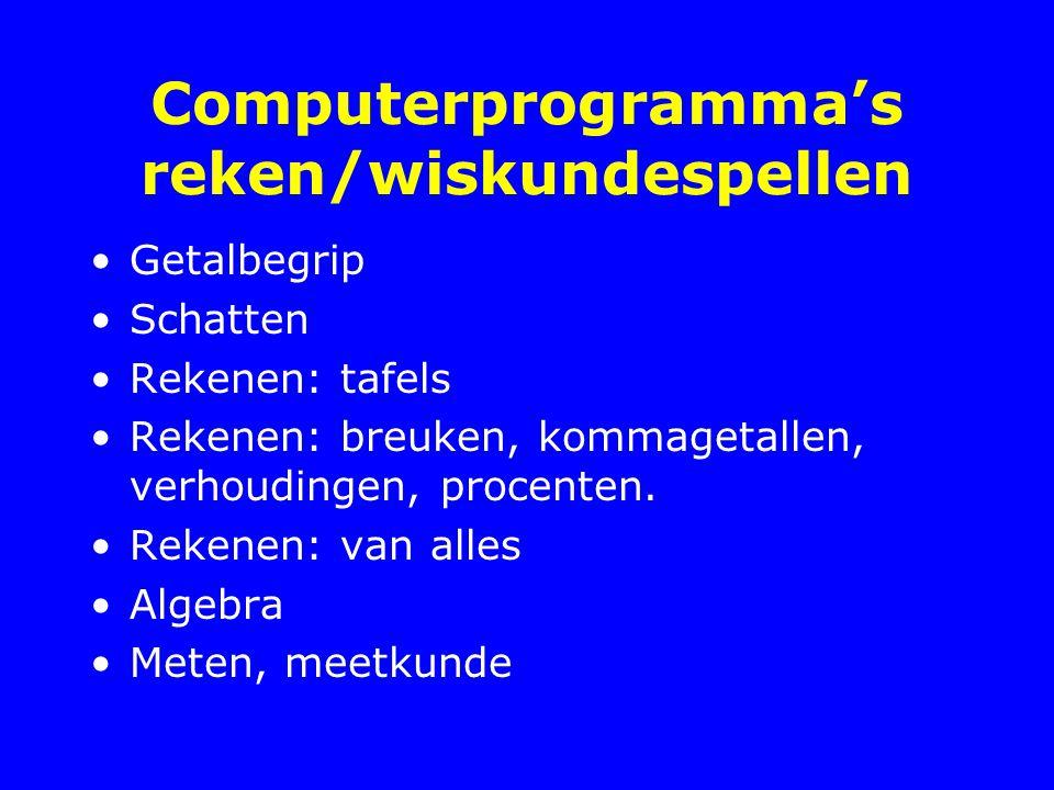 Computerprogramma's reken/wiskundespellen