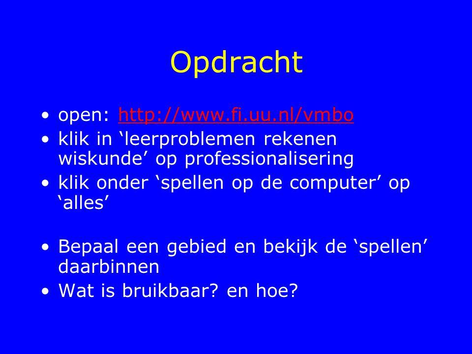 Opdracht open: http://www.fi.uu.nl/vmbo