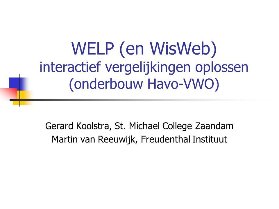 WELP (en WisWeb) interactief vergelijkingen oplossen (onderbouw Havo-VWO)
