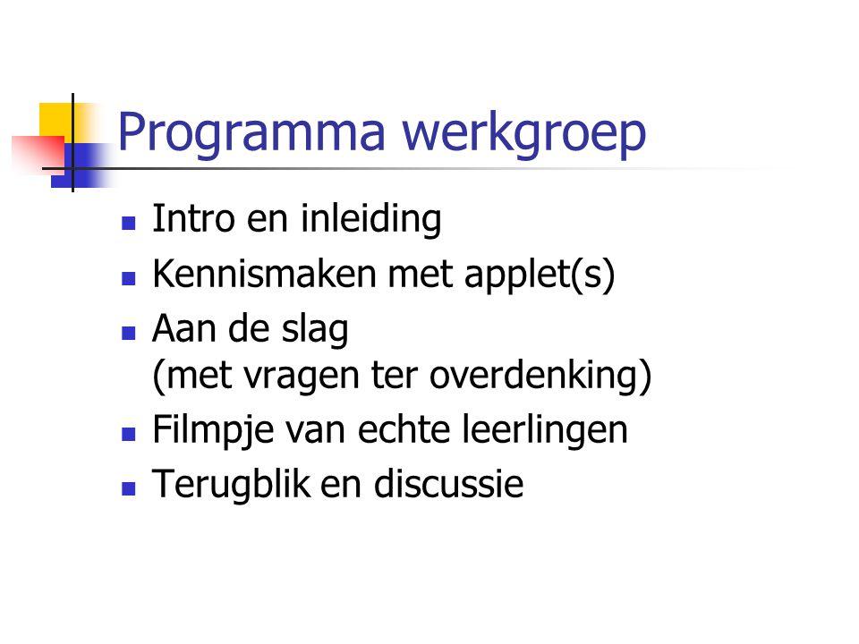 Programma werkgroep Intro en inleiding Kennismaken met applet(s)