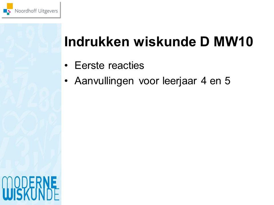 Indrukken wiskunde D MW10