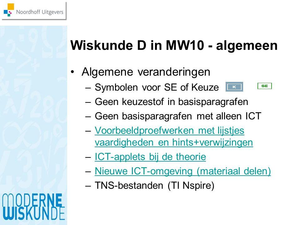 Wiskunde D in MW10 - algemeen