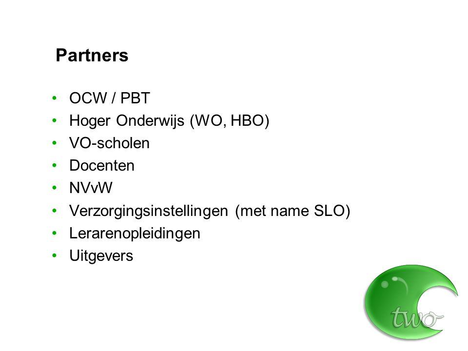 Partners OCW / PBT Hoger Onderwijs (WO, HBO) VO-scholen Docenten NVvW