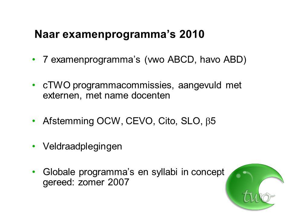 Naar examenprogramma's 2010