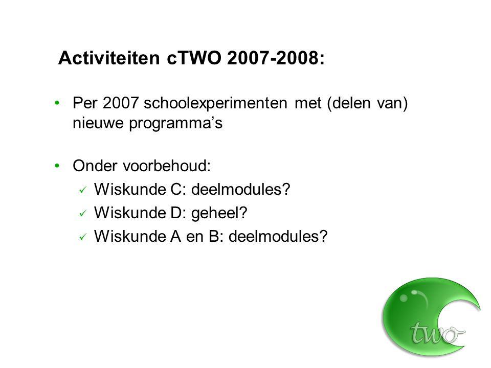 Activiteiten cTWO 2007-2008: Per 2007 schoolexperimenten met (delen van) nieuwe programma's. Onder voorbehoud: