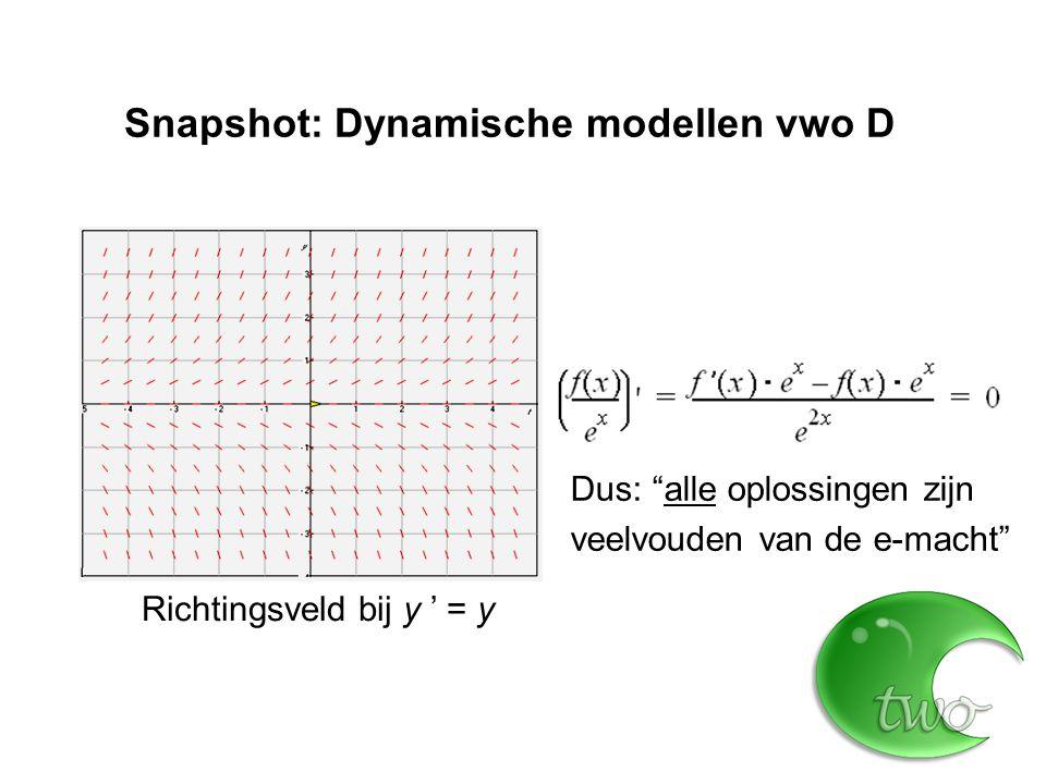 Snapshot: Dynamische modellen vwo D