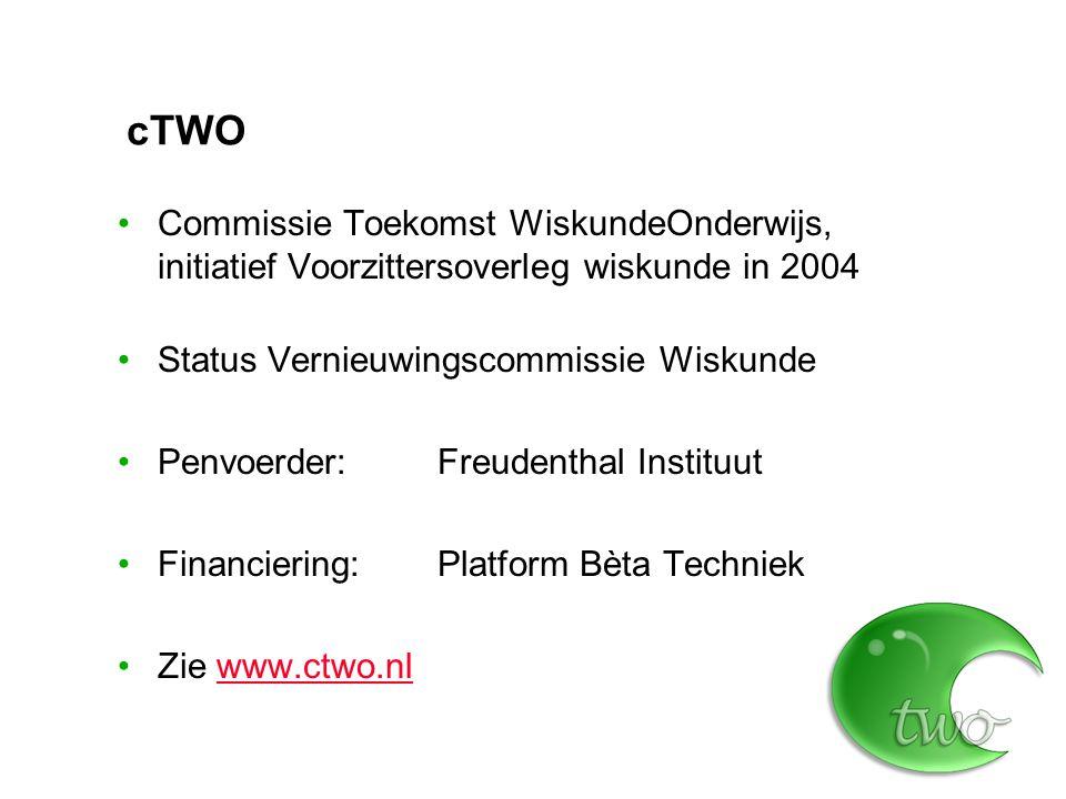 cTWO Commissie Toekomst WiskundeOnderwijs, initiatief Voorzittersoverleg wiskunde in 2004. Status Vernieuwingscommissie Wiskunde.