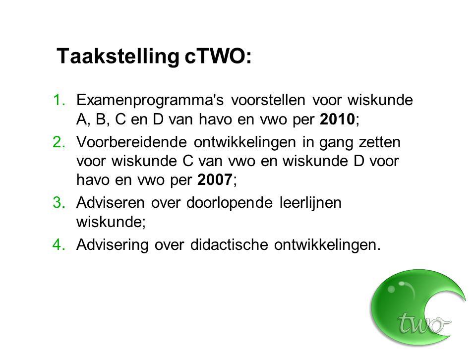 Taakstelling cTWO: Examenprogramma s voorstellen voor wiskunde A, B, C en D van havo en vwo per 2010;