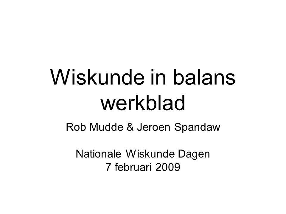 Wiskunde in balans werkblad